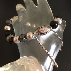 David Yurman Silver/onyx/hematite beads bracelet